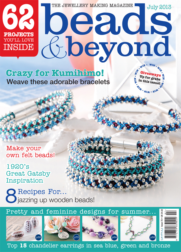 Pru McRae's kumihimo jewellery design makes the front cover for July 2013 magazine issue