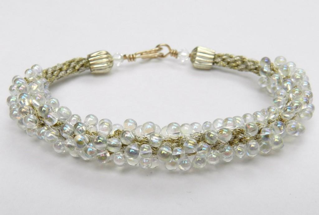kumihimo round braid silver drop bracelet