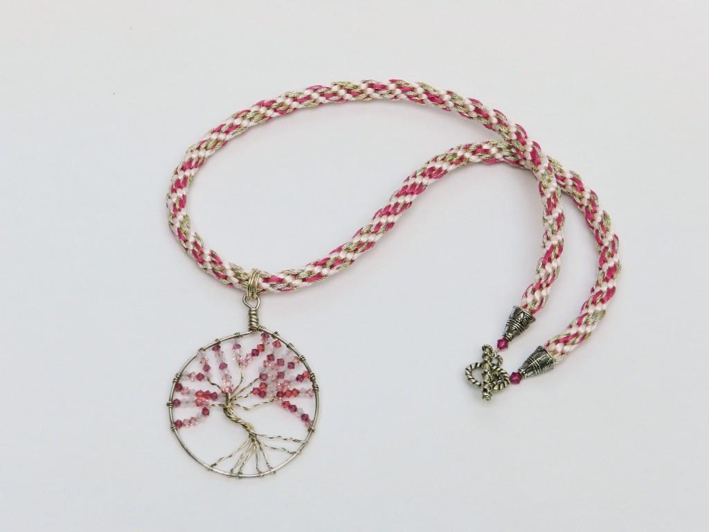 Kumihimo round braid tree of life pendant