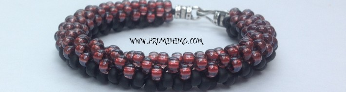 Two colour beaded kumihimo bracelet