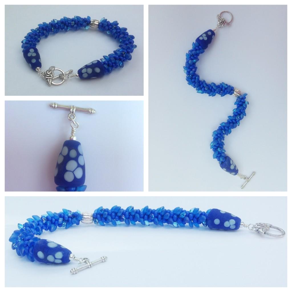 Blue Magatama Kumihimo Bracelet