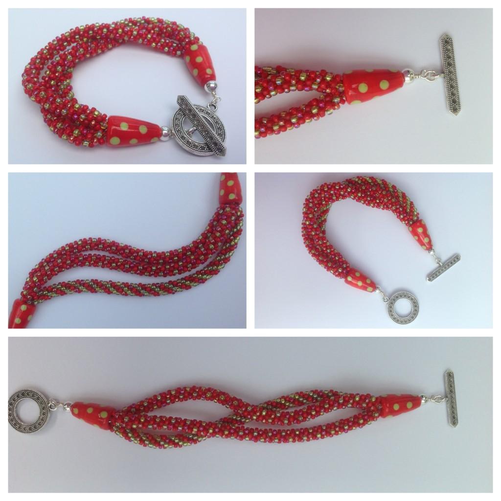 Red Multi-strand kumihimo bracelet
