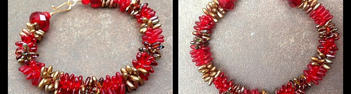 Kumihimo Bracelet made with Red Rizos