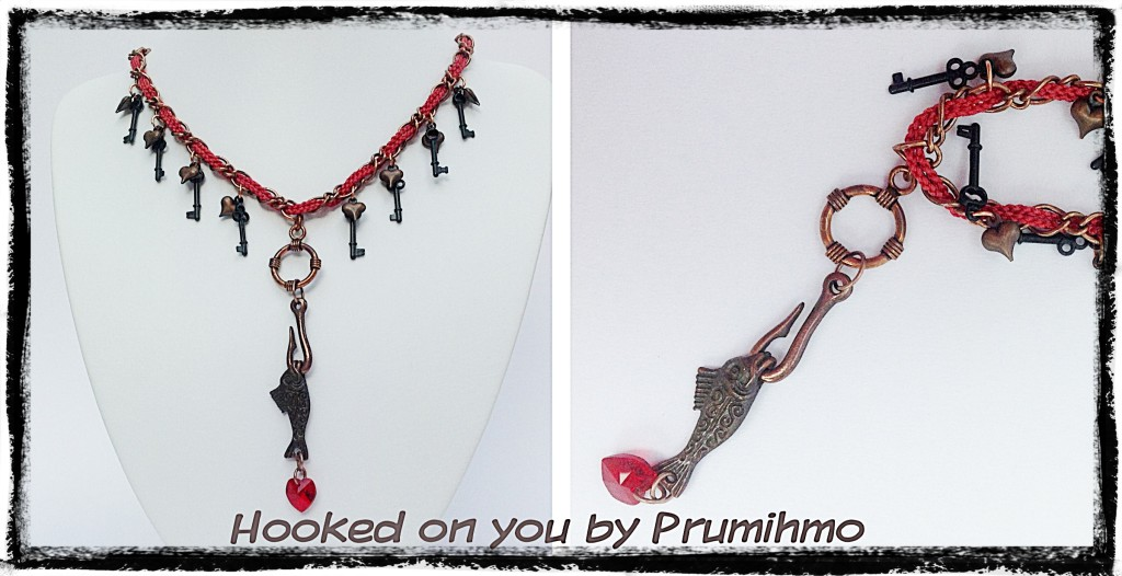 Kumihimo fish and hook necklace
