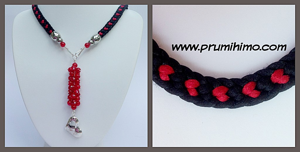 Valentine themed Kumihimo necklace