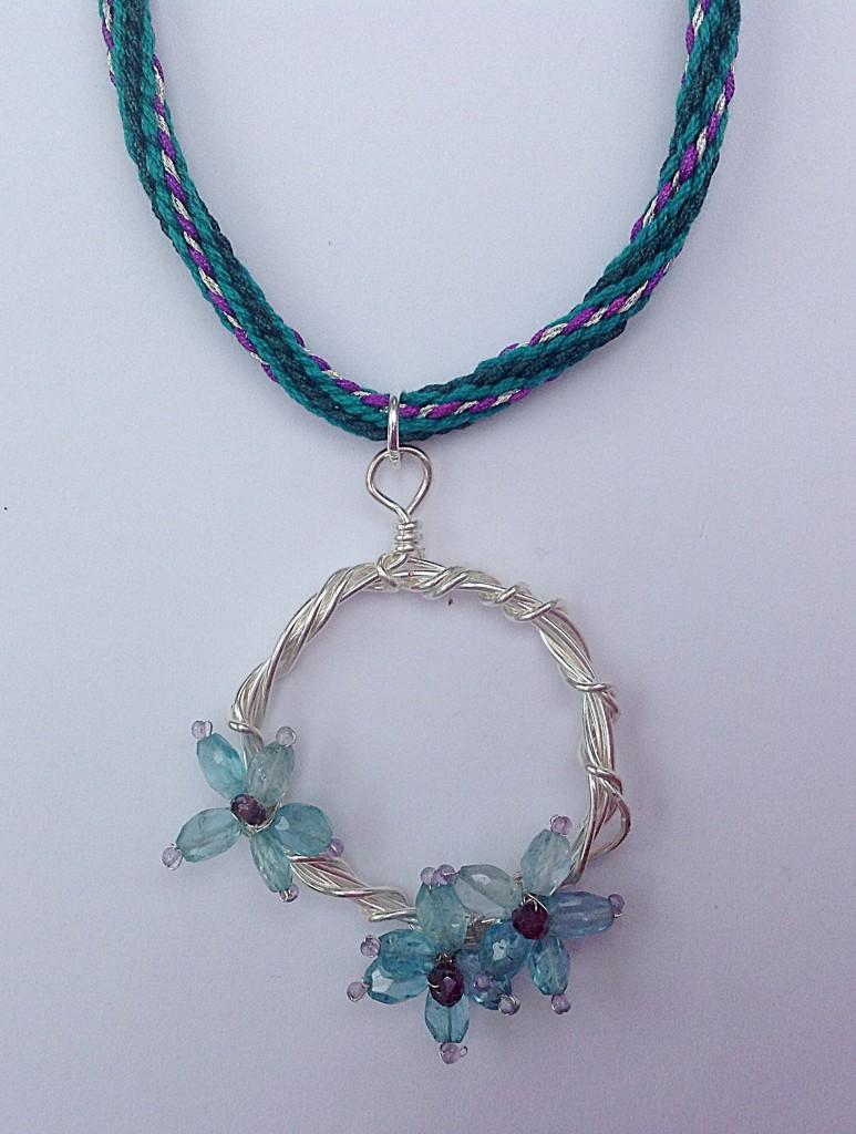 Gemstone flower kumihimo pendant