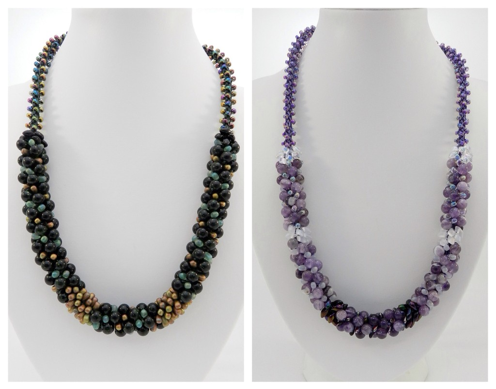 Gemstone kumihimo necklaces
