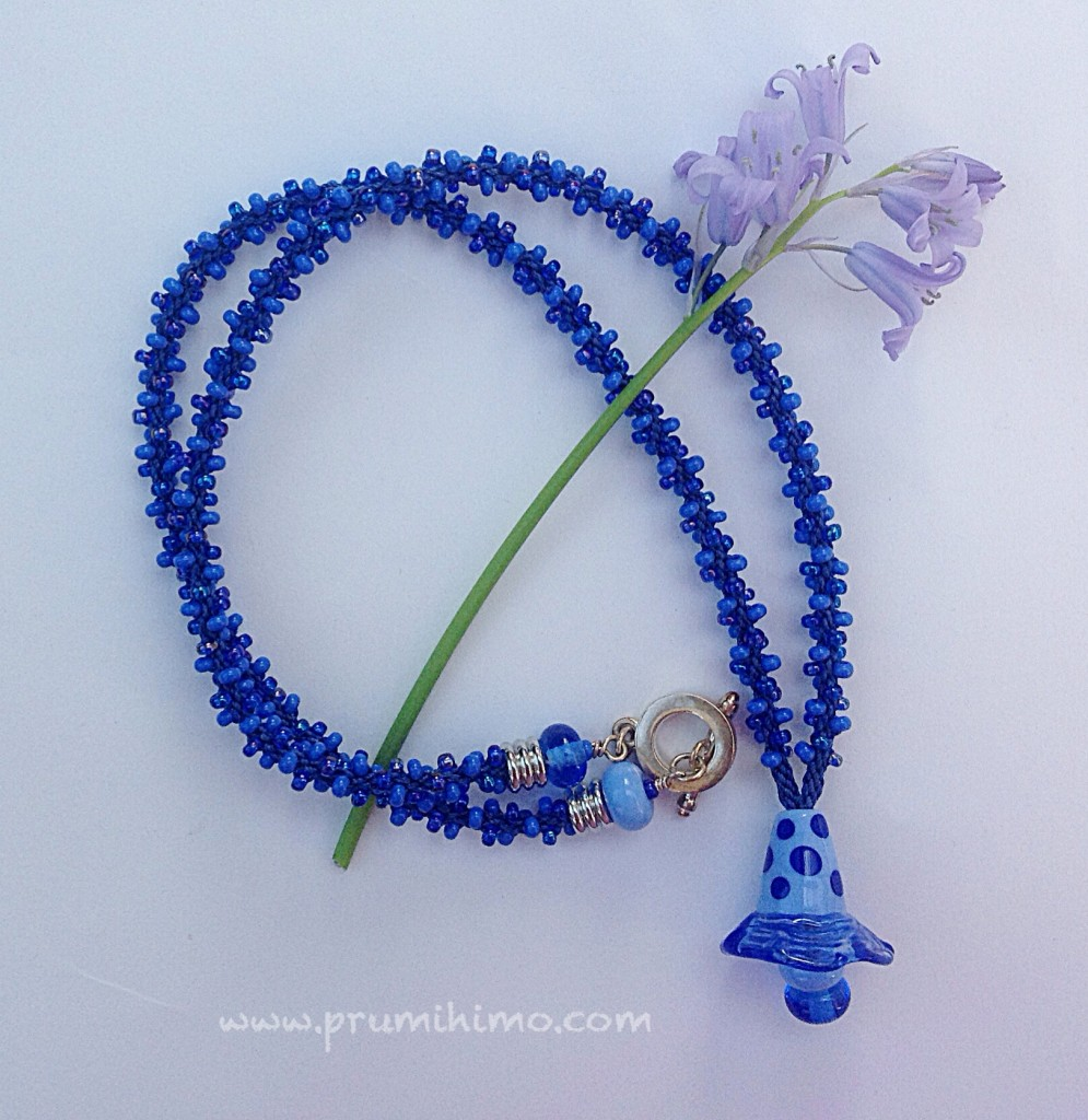 Kumihimo bluebell necklace