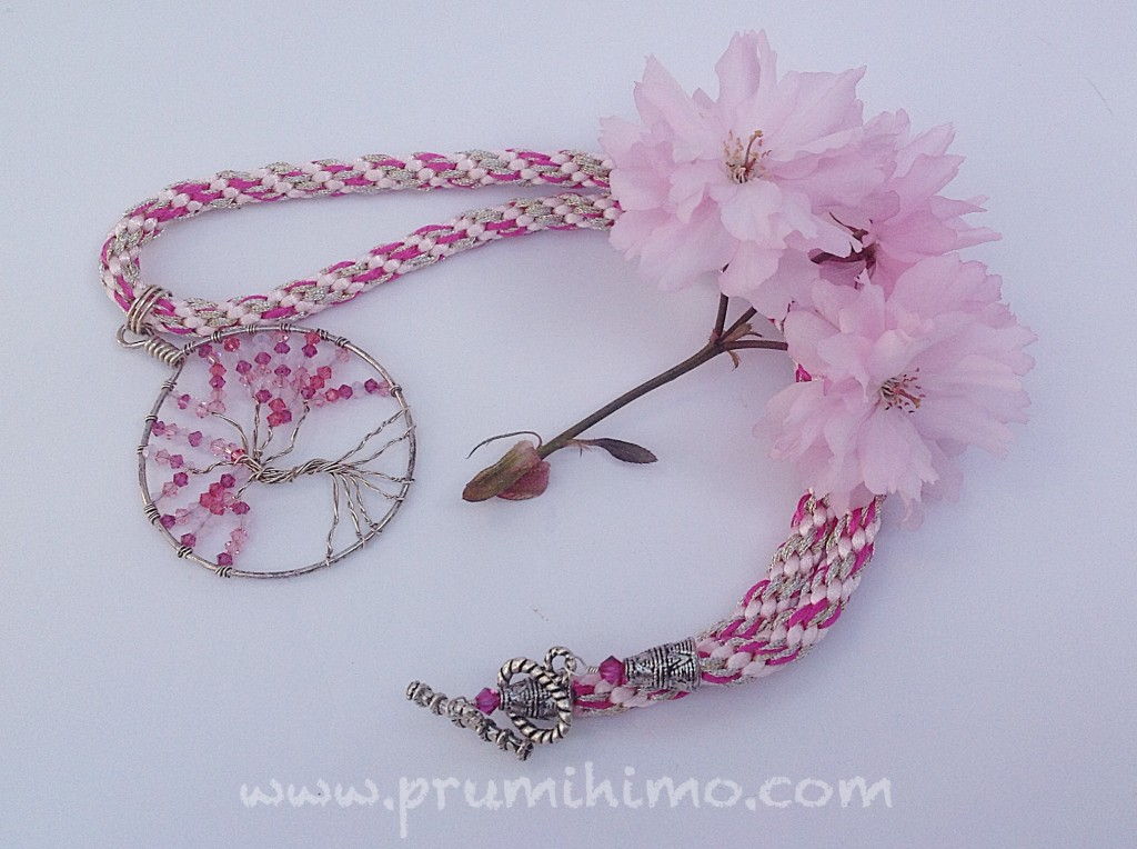 Cherry blossom kumihimo necklace