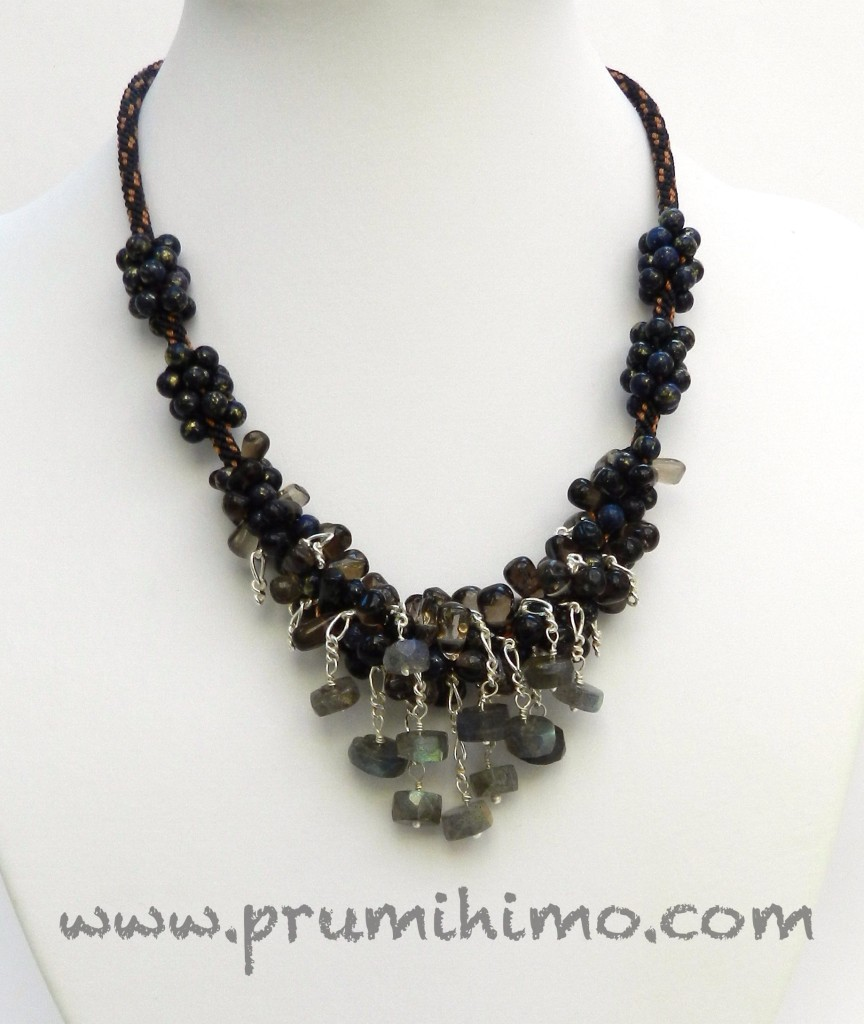 Wire and chain kumihimo necklace