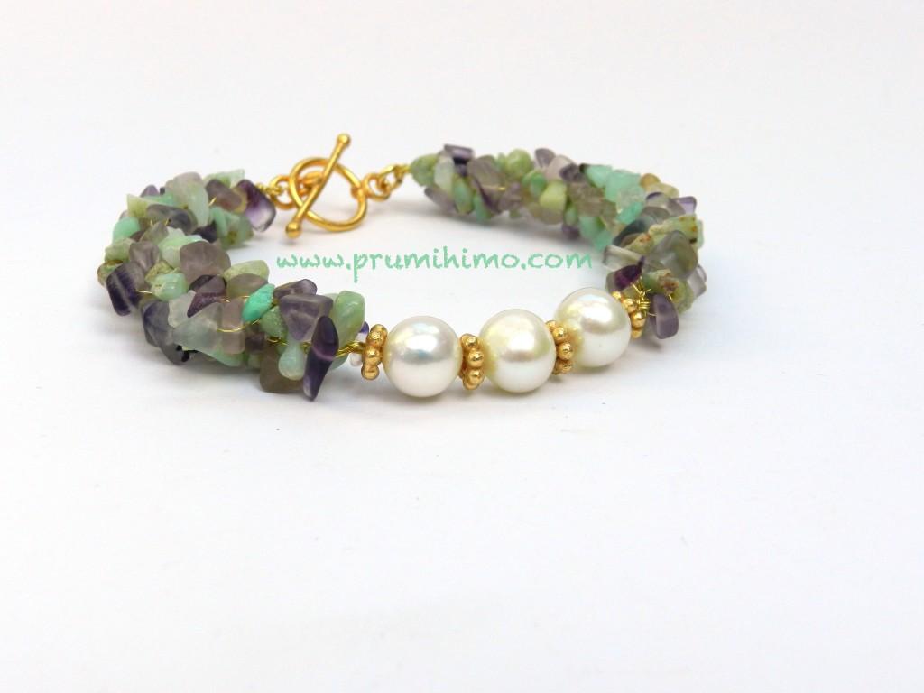kumihimo wire chip bracelet