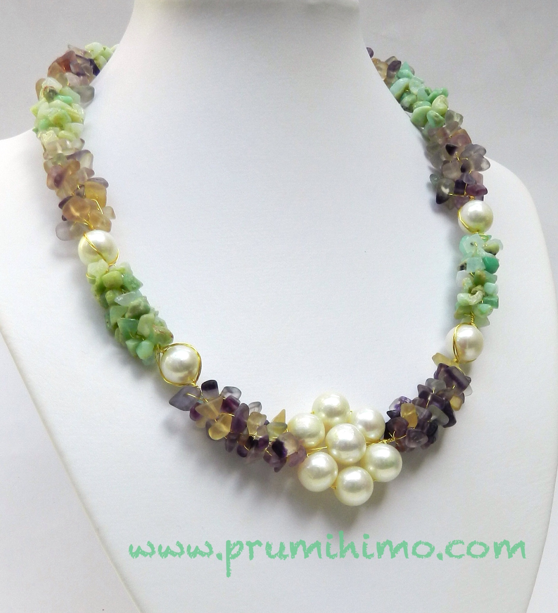 Elegance Wire Kumihimo With Gemstone Chips And Pearls
