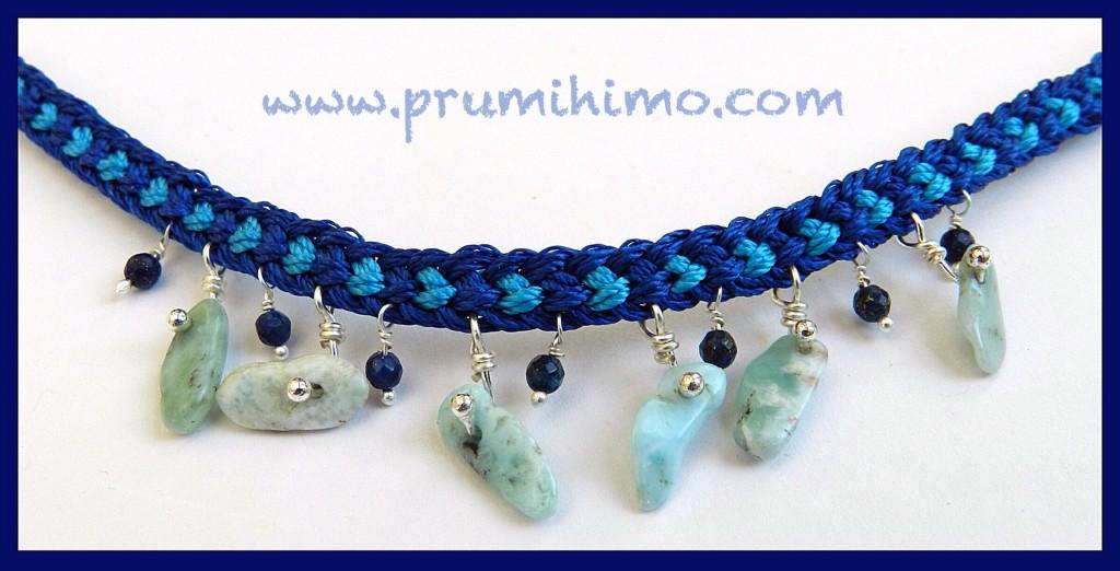 Kumihimo bracelet with larimar