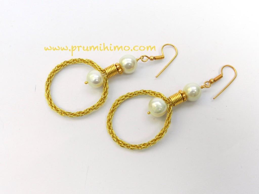 Wire kumihimo earrings