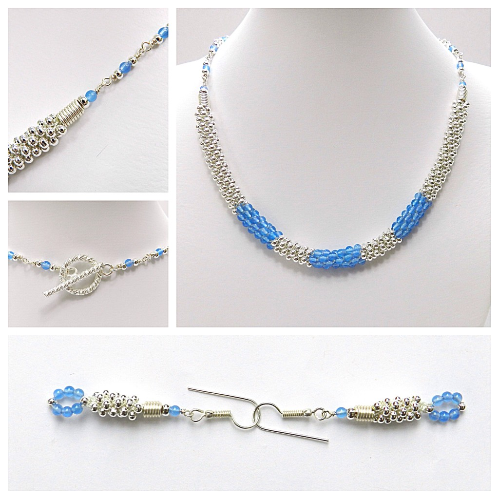 Kumihimo with metal seed beads and blue agate
