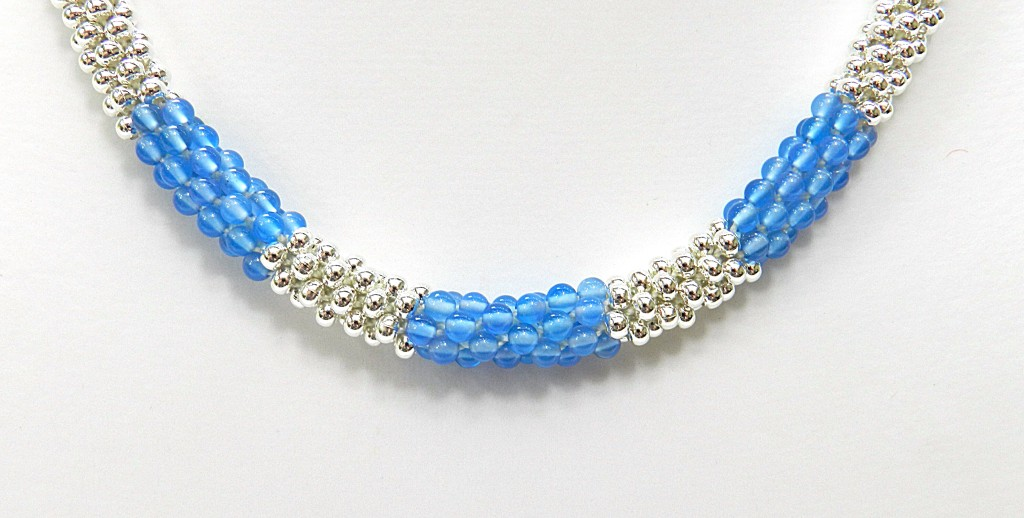 kumihimo necklace with metal seed beads and blue agate