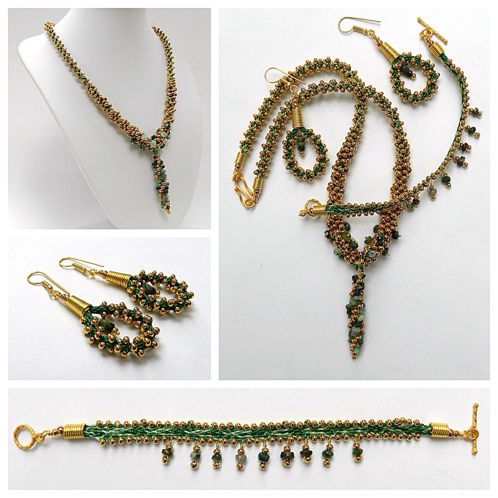 Emerald gemstone kumihimo