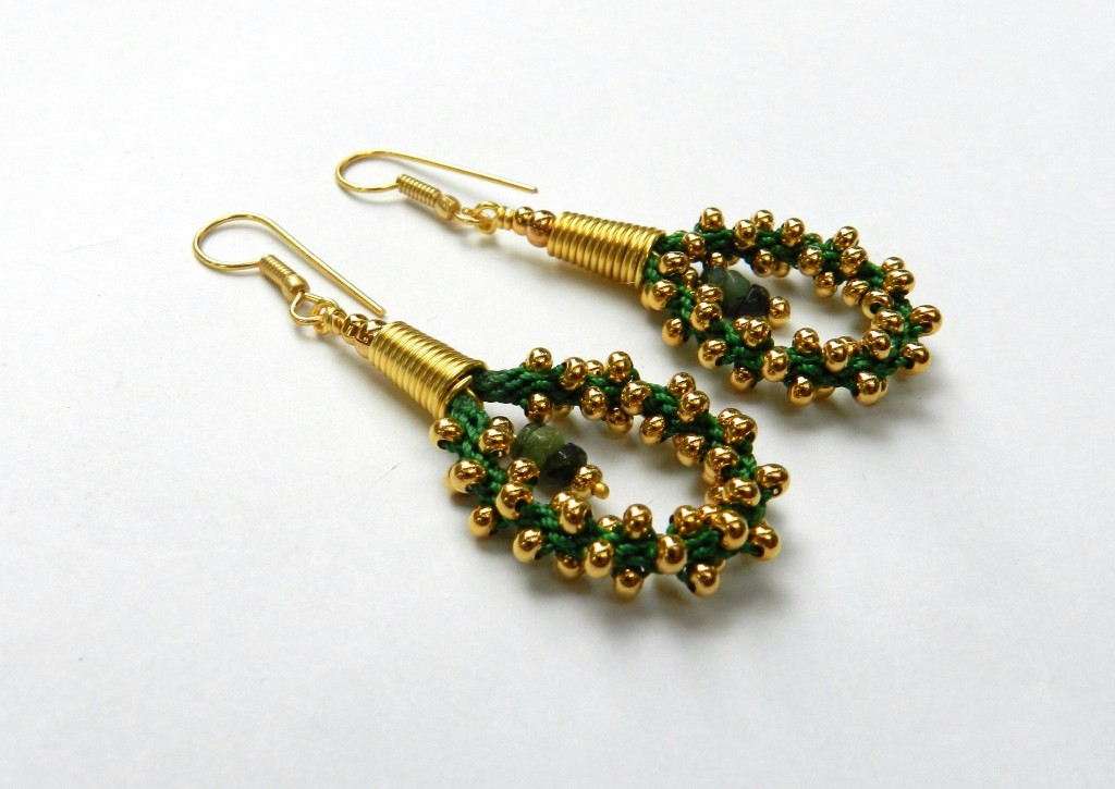 Emerald Kumihimo Earrings