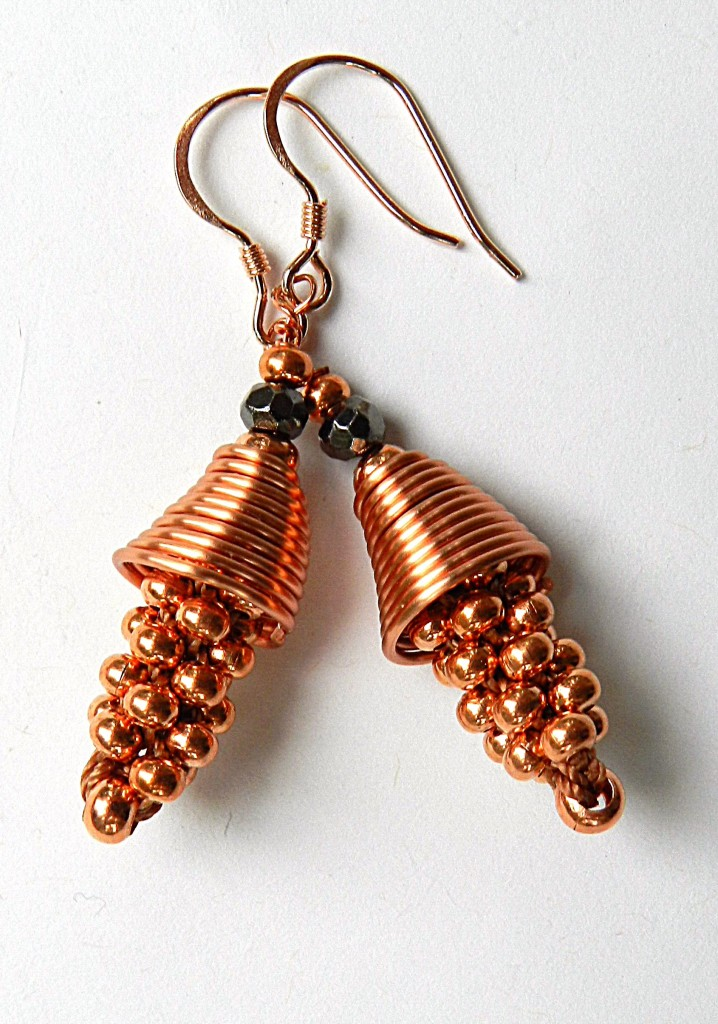 Metal seed bead kumihimo earrings
