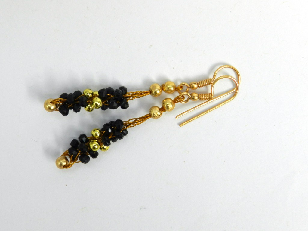 Black and Gold Kumihimo Earrings
