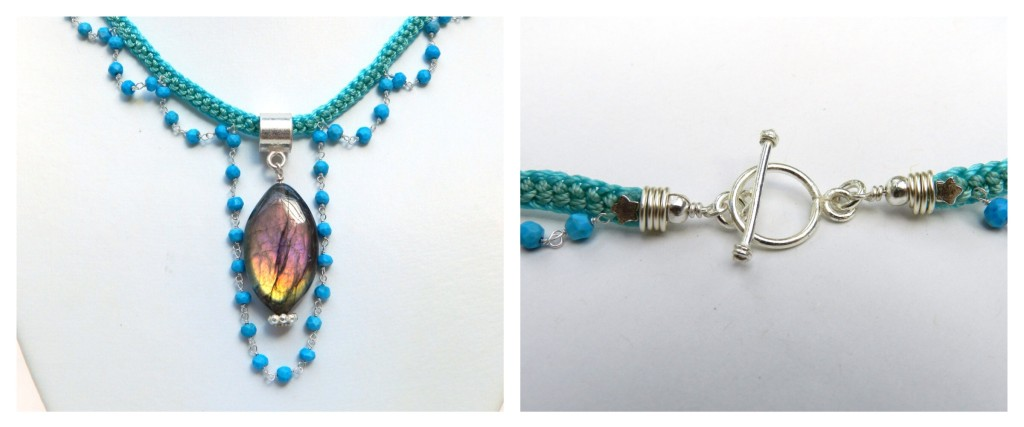 Turquoise chain and kumihimo necklace