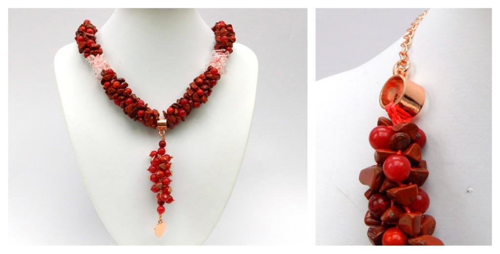Gemstone chip kumihimo necklace