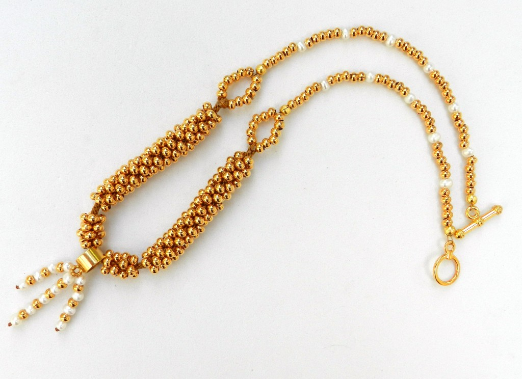 Golden beaded kumihimo necklace