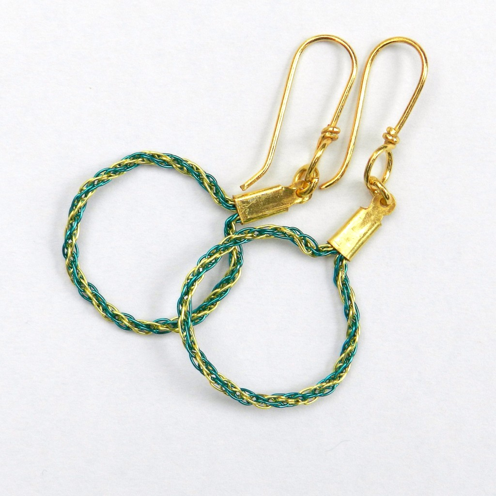 Wire Kumihimo earrings
