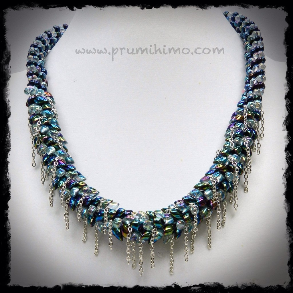 Blue Cascade kumihimo necklace