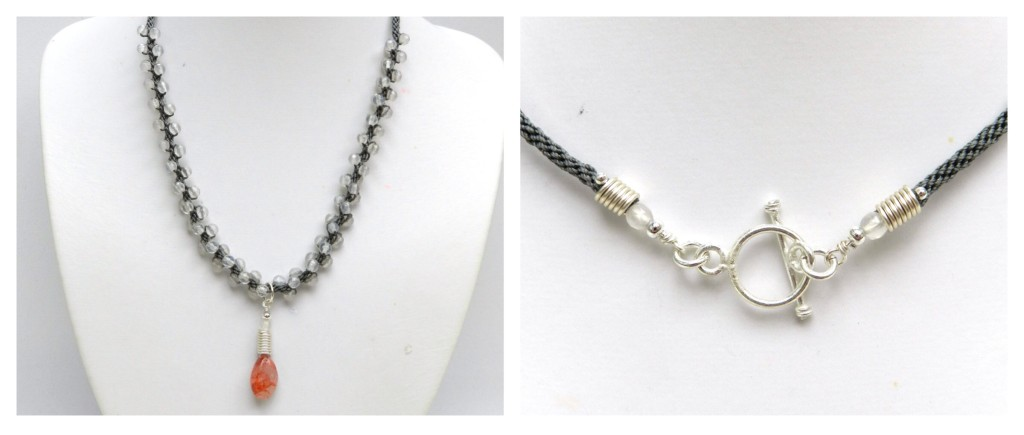 Gemstone Pendant kumihimo necklace