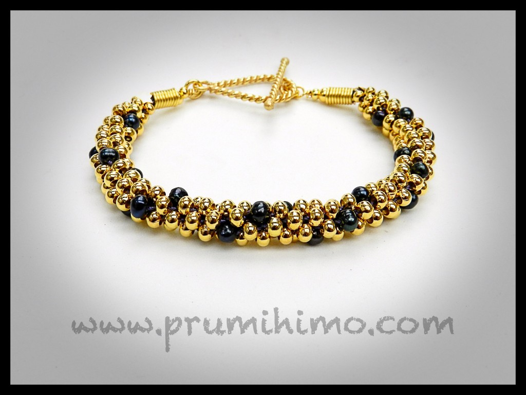 Gold and Pearl Kumihimo