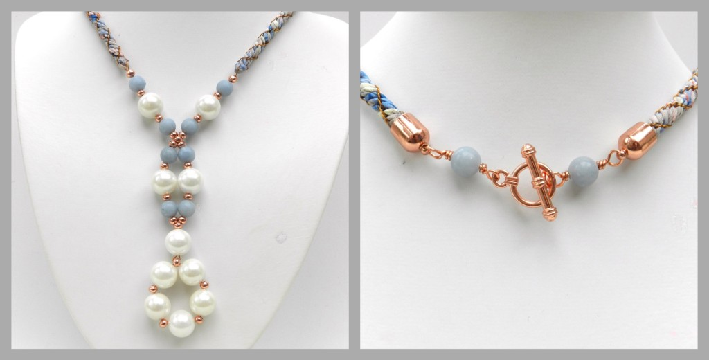 Pearls and flowers kumihimo
