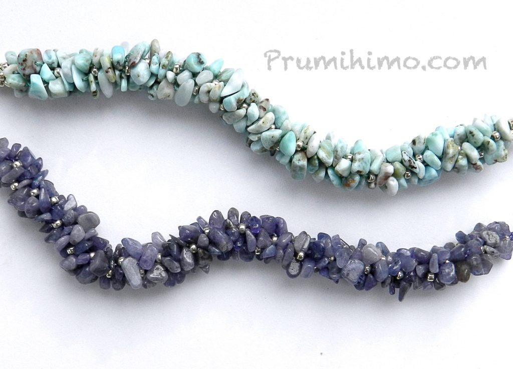 Gemstone chip kumihimo