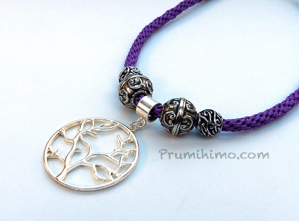 Charm bead kumihimo necklace