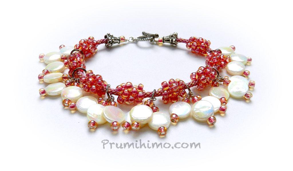 Kumihimo shell charm bracelet