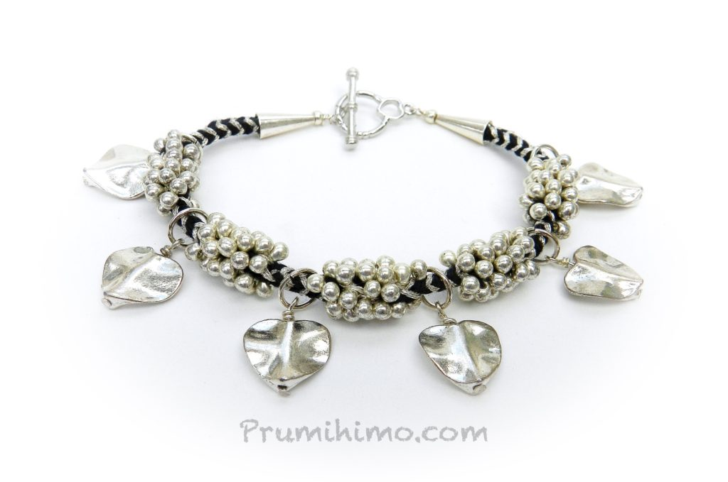 Kumihimo Leaf Charm bracelet
