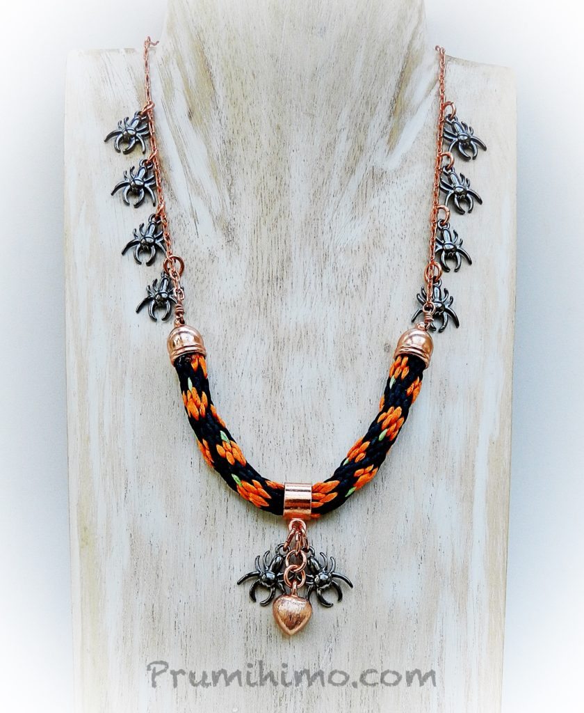pumpkin kumihimo necklace