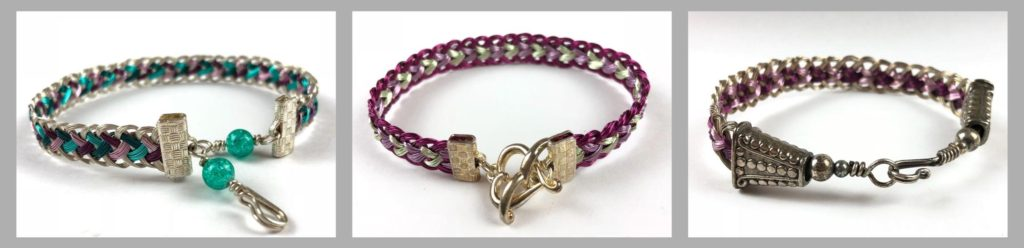 Wire kumihimo bracelets