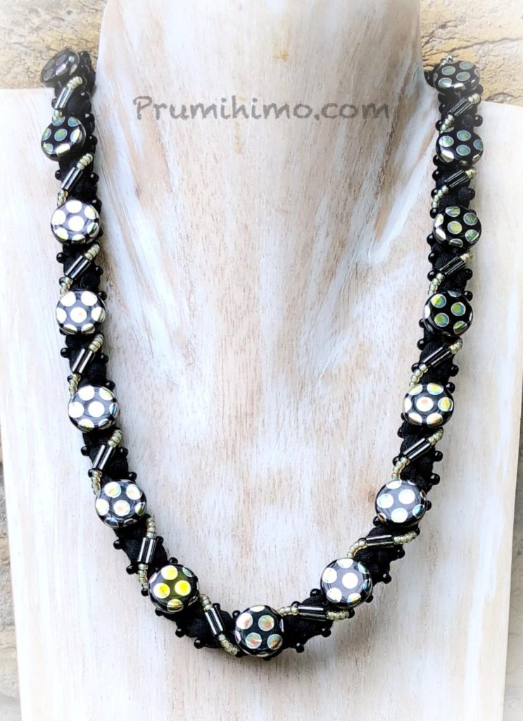 Spotty disk kumihimo necklace