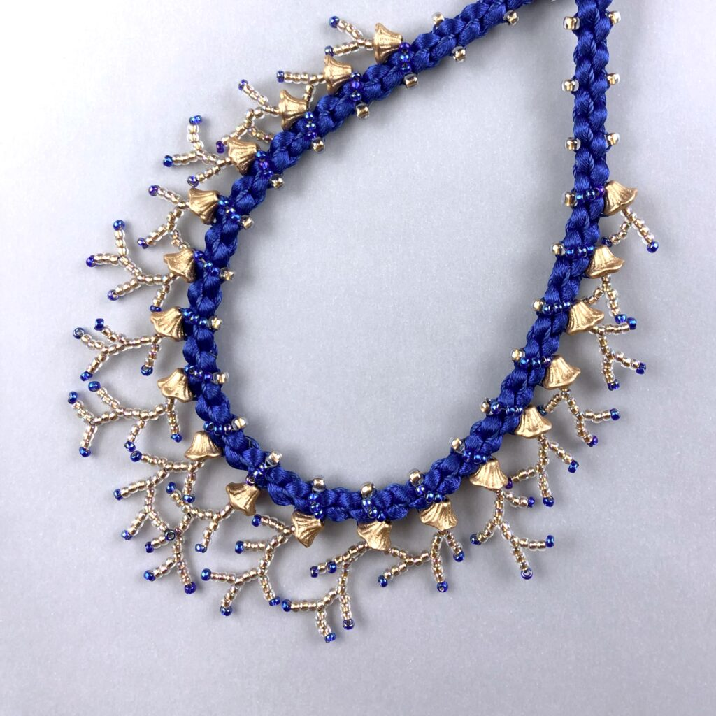 Coral Garden kumihimo necklace